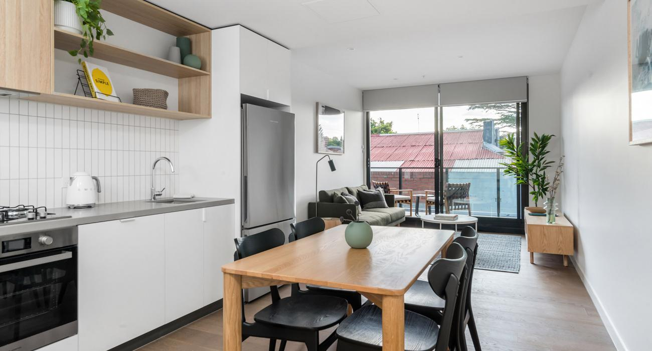 Axel Apartments G01 The Grove - Glen Iris - Kitchen Dining and Living