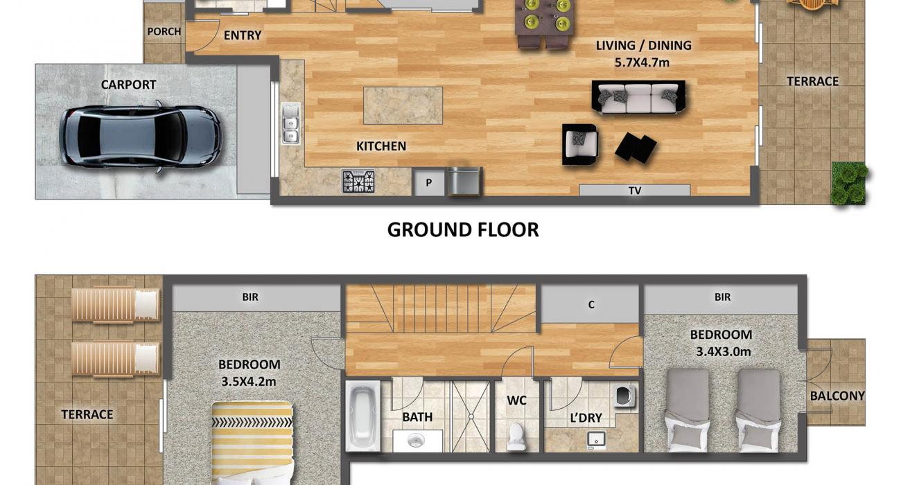 Port Haven - Port Melbourne - Floor Plan 2000px