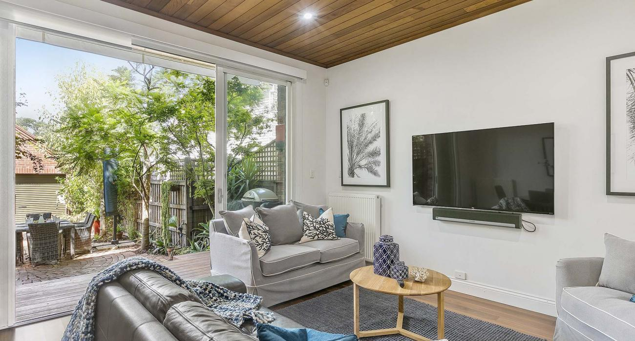 Zetland Terrace - South Melbourne -Living and Courtyard b