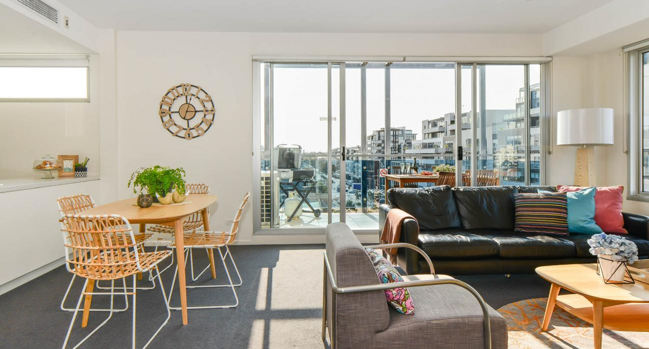 Zinc Views 501 - Port Melbourne - Living, Dining and Balcony