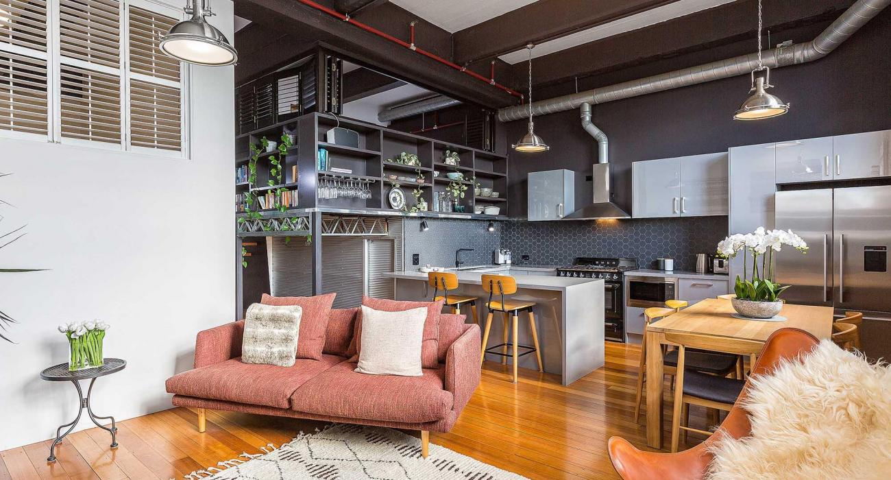 Loft on Rose - Fitzroy - Kitchen, Dining and Living