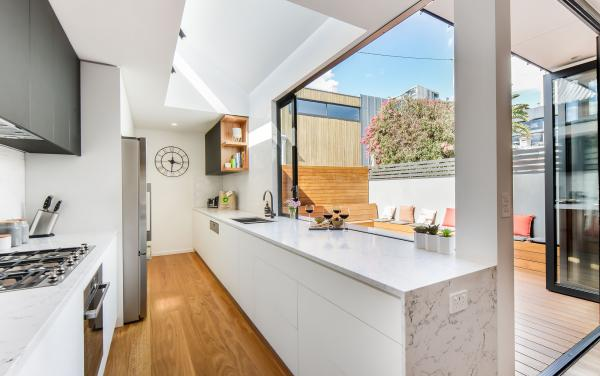 Gigis Place - South Melbourne - Kitchen to Outside Hangout Area
